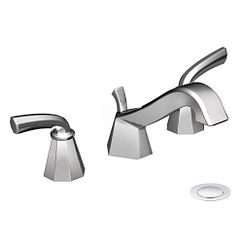 Chrome two-handle low arc bathroom faucet