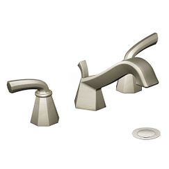 Brushed nickel two-handle low arc bathroom faucet