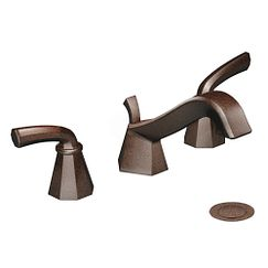 Oil rubbed bronze two-handle low arc bathroom faucet