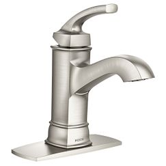 Spot resist brushed nickel Microban one-handle high arc bathroom faucet