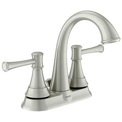 Spot resist brushed nickel Microban two-handle high arc bathroom faucet