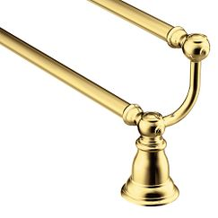 "Polished brass 24"" double towel bar"