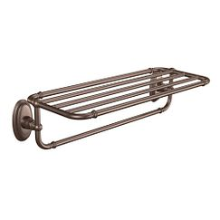 Oil rubbed bronze towel shelf