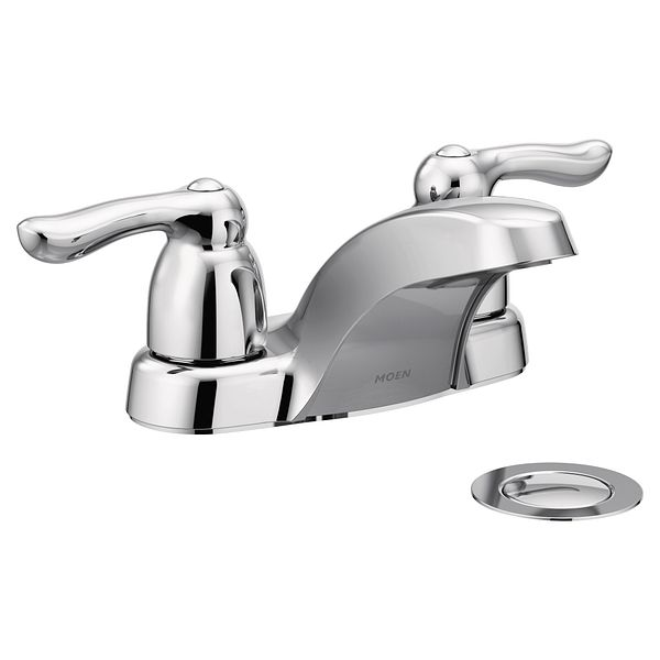 Chateau Chrome Two Handle Low Arc Bathroom Faucet 4925 Moen