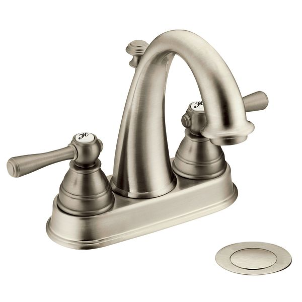 kingsley brushed nickel two handle high arc bathroom faucet 6121bn