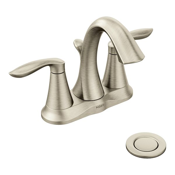 Eva Brushed Nickel Two Handle High Arc Bathroom Faucet