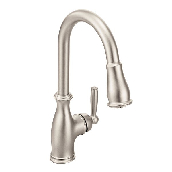 Brantford Spot Resist Stainless One Handle High Arc Pulldown Kitchen Faucet 7185srs Moen