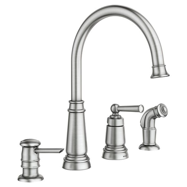 Edison Spot Resist Stainless One Handle High Arc Kitchen Faucet 87042SRS