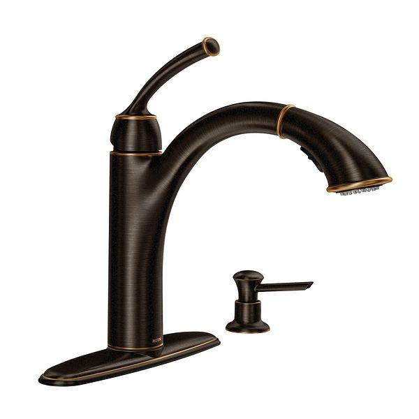 Sullivan Mediterranean Bronze One Handle Pullout Kitchen Faucet 87047brb Moen