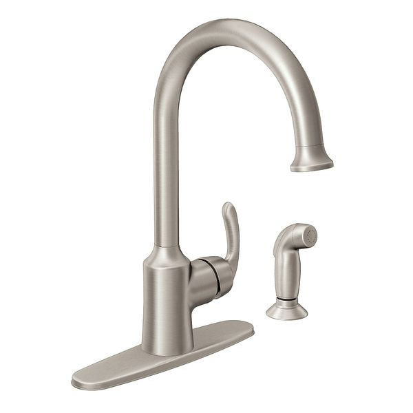 Bayhill Spot Resist Stainless One Handle High Arc Kitchen Faucet 87301SRS
