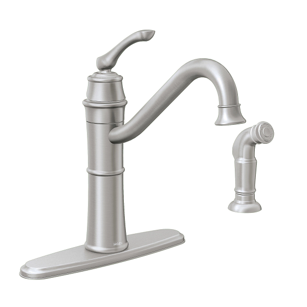 Wetherly Spot Resist Stainless One Handle High Arc Kitchen Faucet 87999SRS