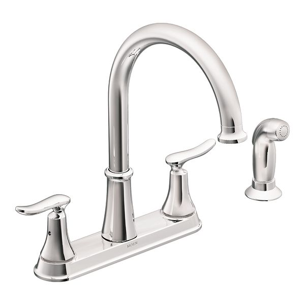 Solidad Chrome Two Handle High Arc Kitchen Faucet CA87015 Moen