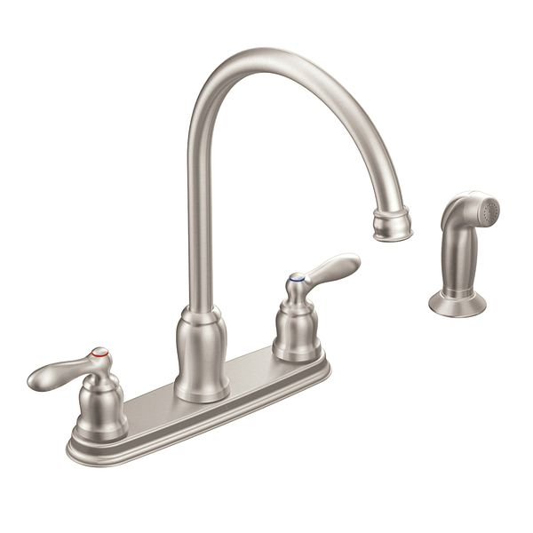 Caldwell Spot Resist Stainless Two Handle High Arc Kitchen Faucet CA87060SR