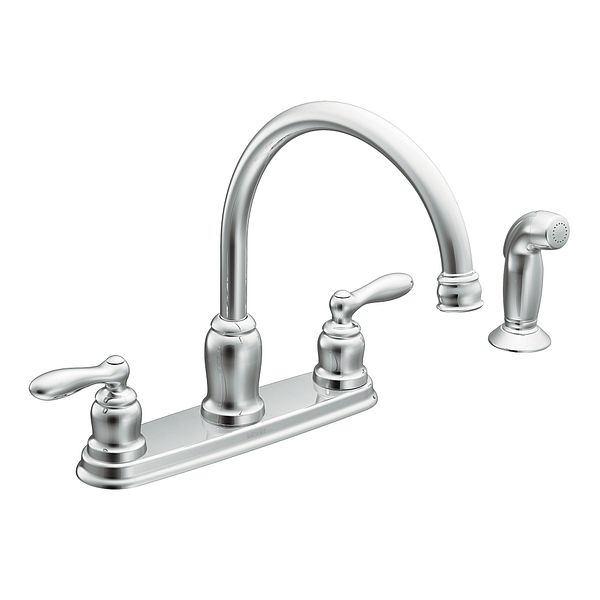 caldwell chrome two handle high arc kitchen faucet