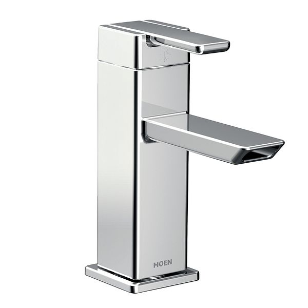 90 Degree chrome one handle low arc bathroom faucet