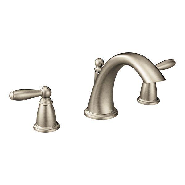 brantford brushed nickel two handle low arc roman tub faucet t4943bn moen. Black Bedroom Furniture Sets. Home Design Ideas