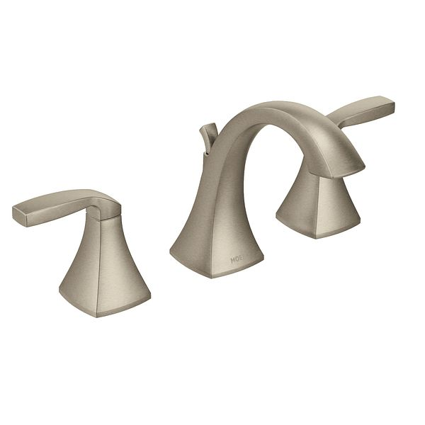 voss brushed nickel two handle high arc bathroom faucet t6905bn