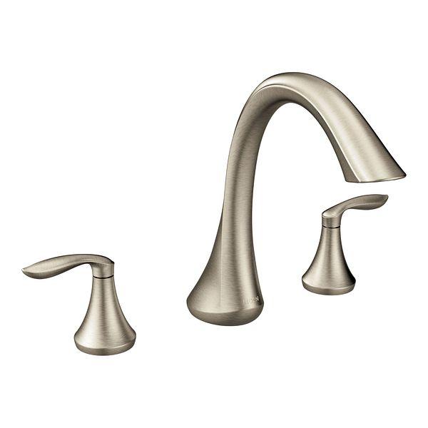 Eva Brushed Nickel Two Handle High Arc Roman Tub Faucet T943BN Moen