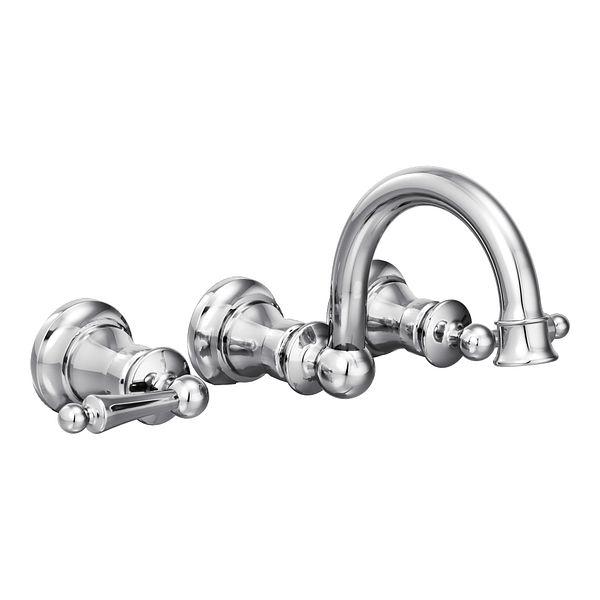 Waterhill chrome two-handle wall mount bathroom faucet - TS416 - Moen