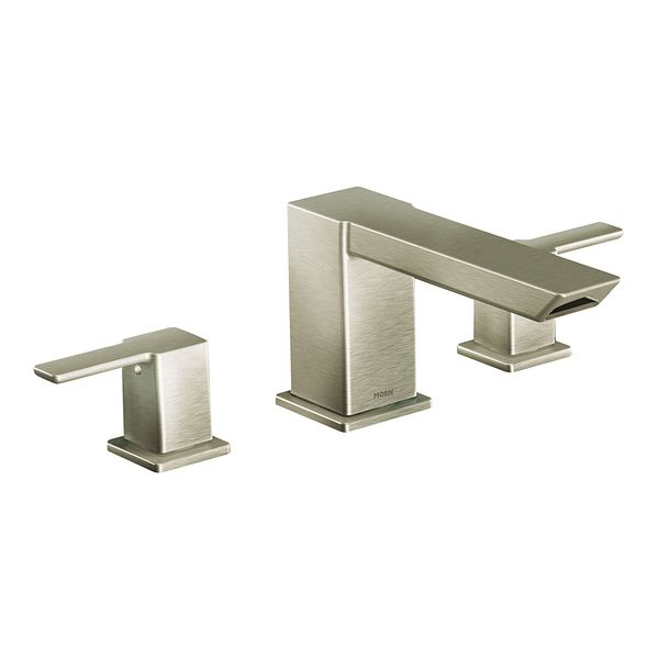90 Degree Brushed Nickel Two Handle High Arc Roman Tub