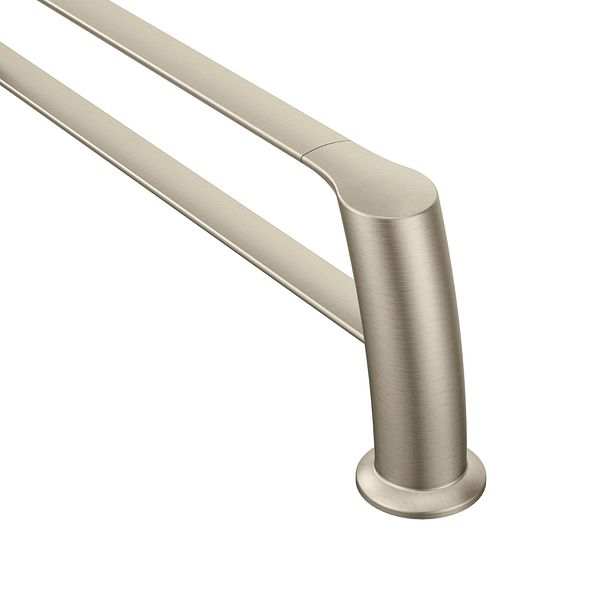 method brushed nickel 18 double towel bar yb2422bn moen