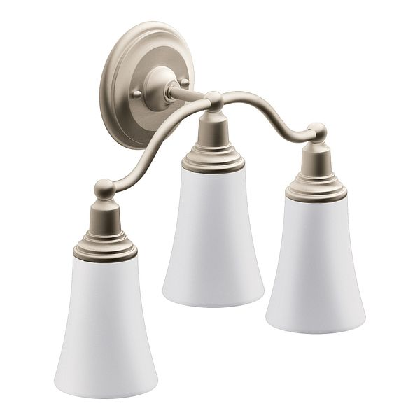 Rothbury Brushed Nickel Three Globe Bath Light YB8263BN Moen