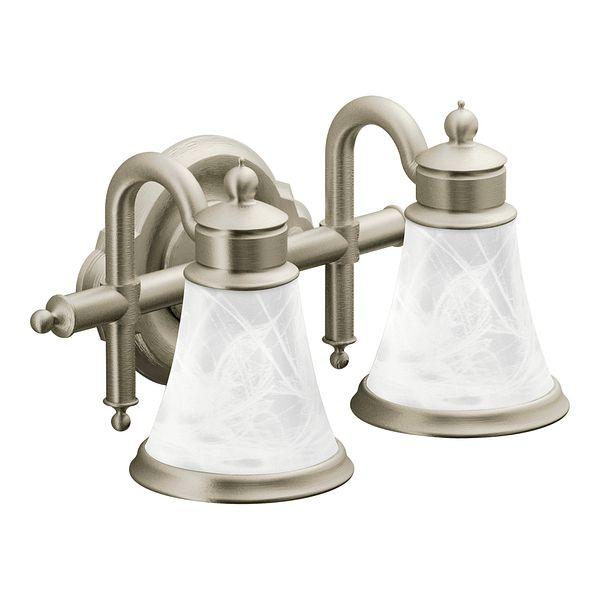 Waterhill Brushed Nickel Two Globe Bath Light YB9862BN Moen