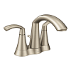 Brushed nickel two–handle high arc bathroom faucet